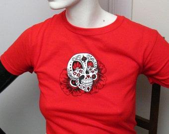 "Sugar Skull T-shirt ""Poppy Rouge"" Womens T-shirt"