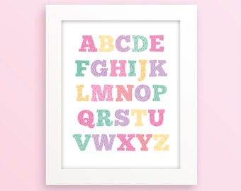 Alphabet nursery, girls room decor, alphabet wall art, pink nursery decor, pink nursery art, new baby gift, nursery print alphabet, letters