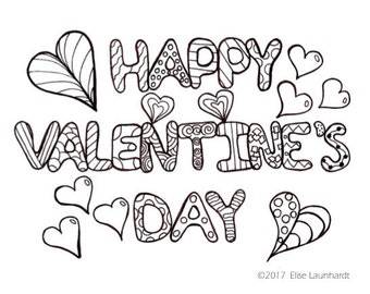 PDF Printable Colouring Card, Happy Valentine's Day