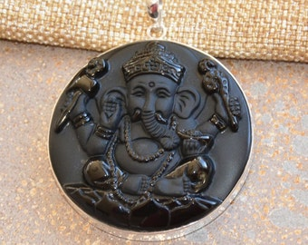 Large Round Black Onyx Ganesh Pendant Carved Matte Onyx Four Arms Ganesha Sterling Silver Medallion Hindu Elephant God Jewelry, 50mm KP16312