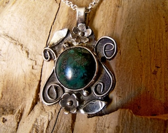 Sterling Silver Pendant with Chrysocolla Stone  RF747