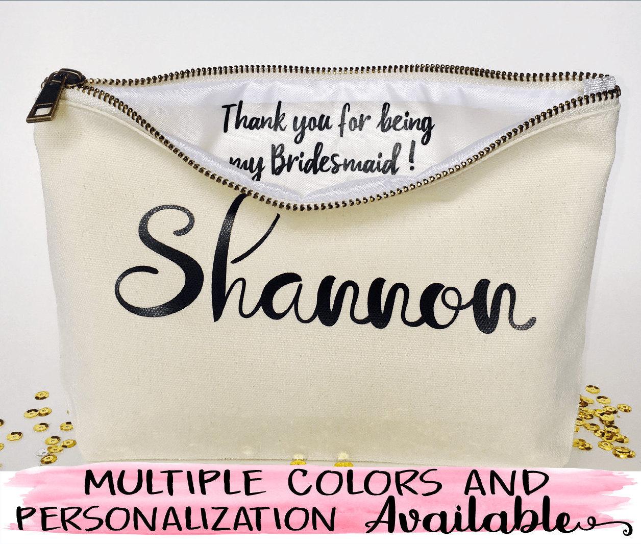 Personalized Bridesmaid gift, makeup bag,Canvas cosmetic bag ...