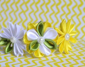 Beautiful Colorful Daisies Headband with Kanzashi Flowers