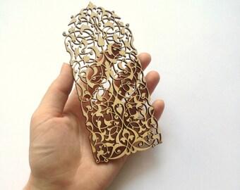 Fantastic Airy Laser cut ornamental lace 183 / Laser cut wood / Wood ornaments / Wood shapes / Wedding decor / Wood charms / Wood laser cut