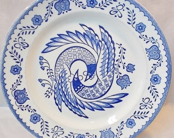 "Vintage Monarch China-11"" Platter or Chop Plate-2 Blue Birds with Tulips on White-Made in USA-#2-PRICE REDUCED!!"