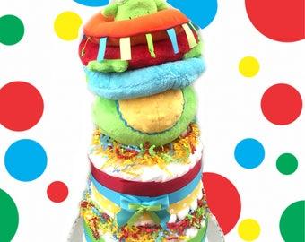Primary Color Alien 2 Tier Baby Shower Diaper Cake