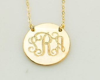 Gold Monogram Necklace, Personalized Interlocking Monogram Jewelry, Rose Gold Initials Circle Necklace Silver Disc Charm Gift