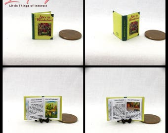 ALICE IN WONDERLAND Miniature Book Dollhouse 1:12 Scale Readable Illustrated Book