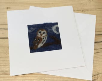 Owl card. Owl needle felt greetings card. Needle felted Owl picture on a linen panel in a blank card for your own message