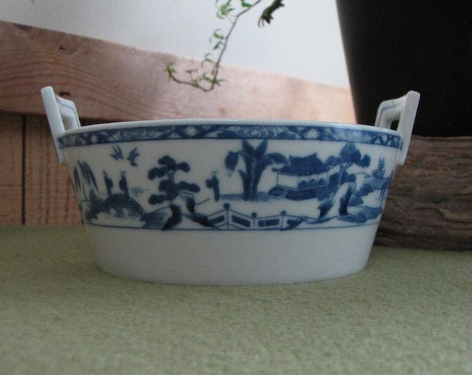 Blue Willow Ware Butter Tub Handled Dish Antique Noritake Dinnerware Circa 1910s