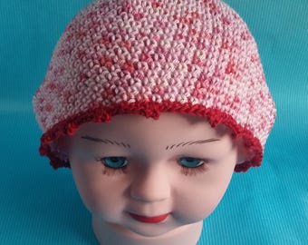 Heather red and pink line baby Hat purple