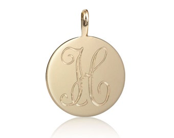 14k gold initial disc charm, personalize charm, script font charm, personalized initial disc, mini disc charm, round charm, 9mm or 6mm disc
