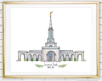 Sacramento Temple- Original Watercolor Print, Art, Wall Decor, Illustration, LDS Art, LDS Temple