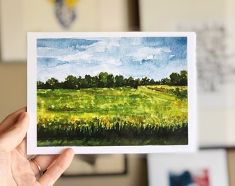 Road Home Country Landscape Watercolor Print