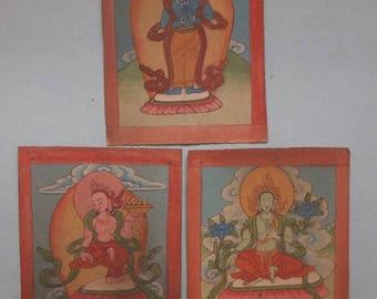 Three Tibetan Ritual Tsakli Paintings on Paper, Buddhist Art Tibet, Ethnic Folk Art, FREE SHIPPING