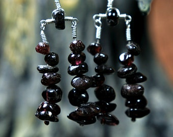 Red Garnet Earrings, Dark Red Garnet Double Strand Earrings, Red Garnet Strand Earrings, Garnet Dangle earrings