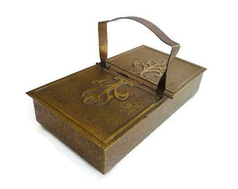 Arts and Crafts Bronze Box by Silver Crest Smith Metal Arts - Wood Humidor, Desk Accessory, Jewelry Box, Vintage Home Decor