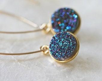 Druzy Earrings, Drusy Earrings, Open Hoop Earrings,  Long Druzy Earrings, Blue Green Druzy Earrings, Dangle Earrings
