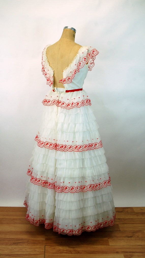 1960s formal dress prom dress red white cupcake frilly ruffled