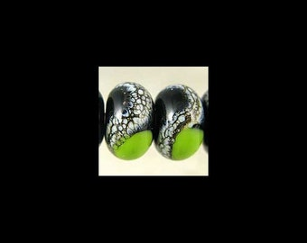 Handmade Glass Lampwork Bead Pair Small 11x7 mm Black and Bright Green