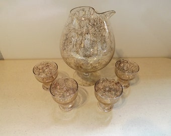 Retro Brandy Snifter Decanter Pitcher and Glasses With Gold Swirl Design