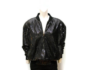 Vintage 1980's Black Sequin Bomber Jacket with Shoulder Pads Sequined Coat Zip Up Outerwear Sparkly Shiny Retro Glam Bomber Jacket