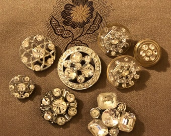 Vintage Buttons - Assorted Rhinestone Buttons Set of 8