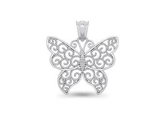 65% OFF SALE - Sterling Silver Butterfly Pendant