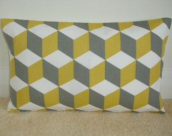 "20x30 Queen Size Pillow Case Saffron and Grey Cushion Yellow Gray Cubes Cover Slip Sham Pillowcase Geometric Contemporary 30""x20"""