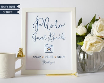Photo Guest Book Sign Navy,Photo Guest Book Sign Printable,Photo Guest Book Sign Template,Polaroid Guest Book Sign,Wedding Signs Navy Blue
