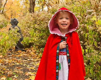 Little Red Riding Hood CAPE Wool or Corduroy Girls Magical Folkloric Cape for Enchanted Forest Toddler Girl Cotton Corduroy