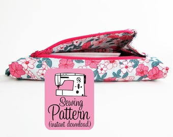 Gusset Zipper Pocket PDF Sewing Pattern | Detailed sewing instructions to make a zippered pocket that opens wide. Intermediate level sewing.