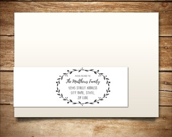 Printable Address Label Template - A7 Wraparound Label - Return Address - DIY Wedding Template - Invitation Template - Wreath Collection