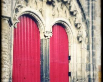 "Red Door European Castle Photo ""Behind Red Doors"" Fairy Tale Fine Art Photograph - Castle Architectural Photo - Europe Travel - Gothic Door"