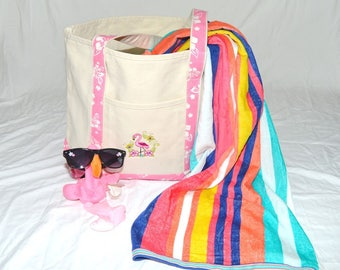 Large Sturdy Heavyweight Canvas Monogrammed Beach Tote Bag w Light Pink Trim w Hibiscus Flowers; Free Domestic Shipping