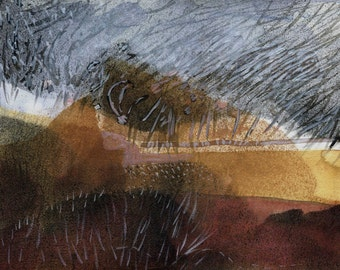 MOORLAND SNOWSTORM - Contemporary Art - Fine Art Painting - Yorkshire - England -  Watercolour Painting - ElizabethAFox