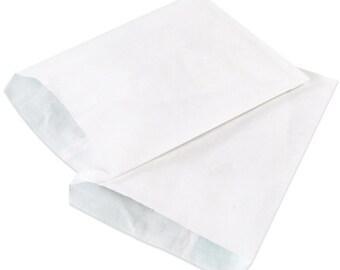 25 Flat WHITE Merchandise Bags . 6.25 x 9.25 . Medium