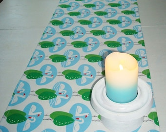 """Cotton Table Runner from Swedish Design Fabric SWAN LAKE; Table Runner 13""""x 57""""; White / Blue / Green Birch Tree and Swan Table Runner"""