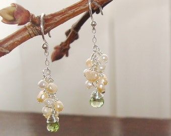 Wire Wrapped Green Peridot Briolettes with Cluster of White and Peach Fresh Water Pearls Cluster Silver Earrings ~Bridal / Wedding Jewelry