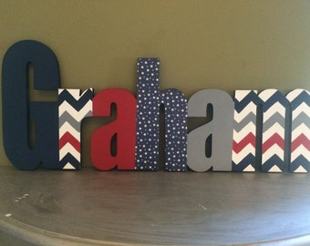 Custom Boys Name Sign - Nursery Wall Letters Name Sign - Wood Wall Letters Boy Style Stripes