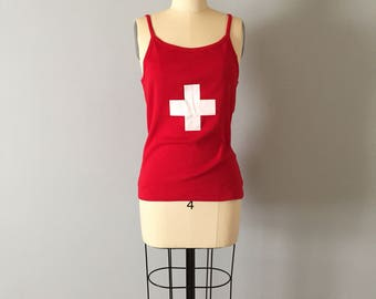 Swiss cross tank top | fire engine red top | cotton tank top with white cross