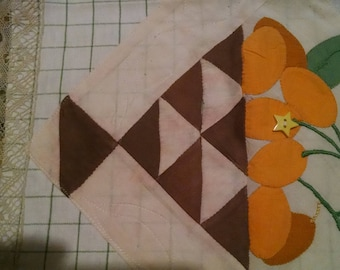 Vintage kitchen towel made with applique quilt square