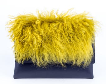 Blue Leather clutch bag w/ Bright Yellow Lama fur, Anna Kruz bag design, Real leather handbag, MK leather Clutch Bag, YELLOW LAMA clutch