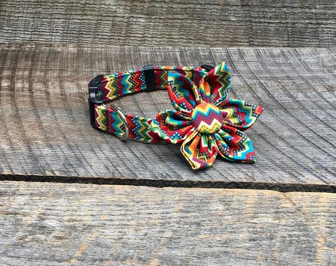 Colored Chevron Fabric Flower Accessory