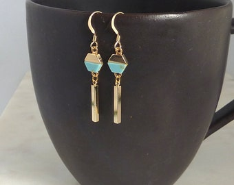 Color Collection. Gold and Turquoise Earrings. dangle earrings. drop earrings. modern earrings. geometric earrings. gold earrings.