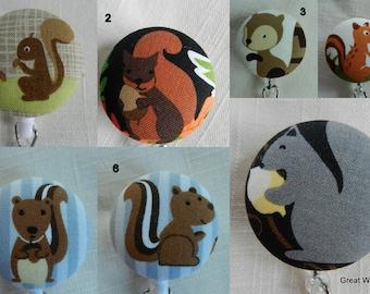 Squirrel badge reel~ Retractable~ Badge Holder Reel~Key Holder