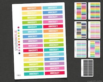 University -  Header Planner Stickers - To Suit Erin Condren Life Planner Vertical  - Repositionable Matte Vinyl