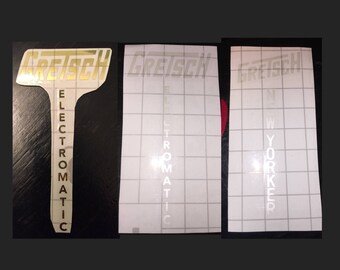 Gretsch Electromatic or New Yorker or Gold Foil or Pearl White Headstock Decal Logo Dry stick