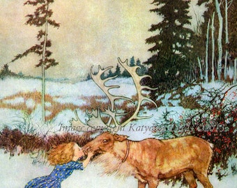Reindeer Girl Bookplates - Pack of Ten - from Illustration by Edmund Dulac
