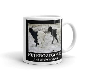 Heterozygoats Genetics Coffee Mug. DNA goats funny heterozygotes allele uneven genes puns gift tea black and white